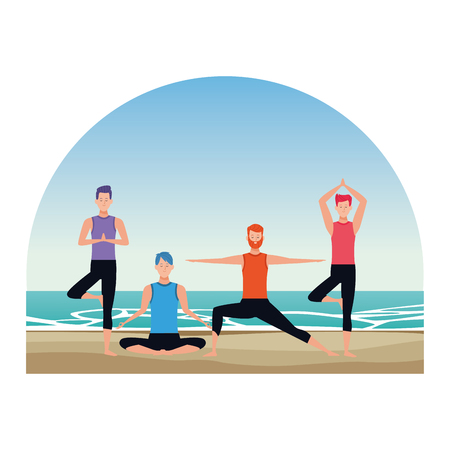 men yoga poses avatar cartoon character with beard in the beach seascape vector illustration graphic design