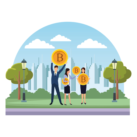 Business people with bitcoins avatars in the park over cityscape scenery vector illustration graphic design