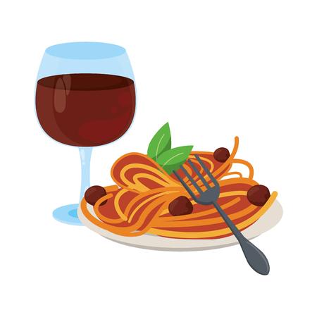 Comida goumet con dibujos animados de copa de vino