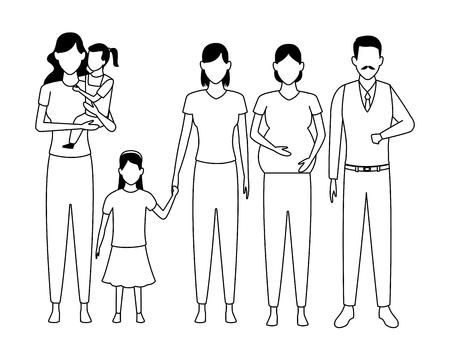 family avatar cartoon character grandparent pregnant children black and white vector illustration graphic design