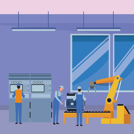 car service manufacturing workers assembling cartoon vector illustration graphic design Ilustração