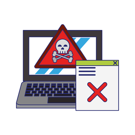 danger sign with computer icon cartoon vector illustration graphic design  イラスト・ベクター素材