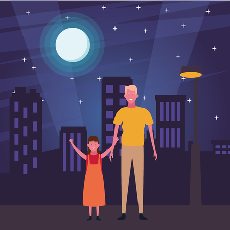 Single father with daughter cartoon in the street at night scenery 向量圖像