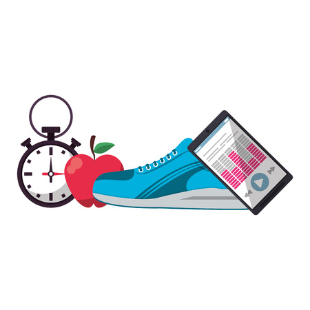 Fitness and gym equipment shoes and smartphone music with timer vector illustration graphic design Illustration