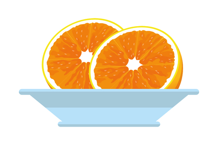 half orange icon cartoon isolated in plate vector illustration graphic design