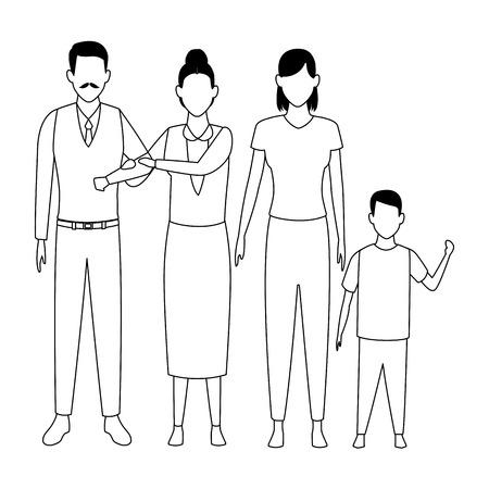 family avatar cartoon character grandparent child black and white vector illustration graphic design