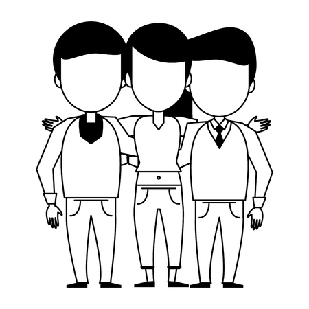 Friends men and woman embraced people cartoon vector illustration graphic design