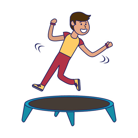 Athlete man jumping in trampoline vector illustration graphic design Ilustrace
