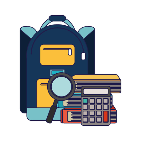 School utensils and supplies backpack with calculator and magnifying glass books Designe