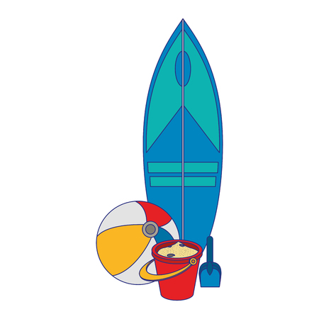 Progettazione grafica dell'illustrazione di vettore del fumetto di viaggio di estate e spiaggia Vettoriali