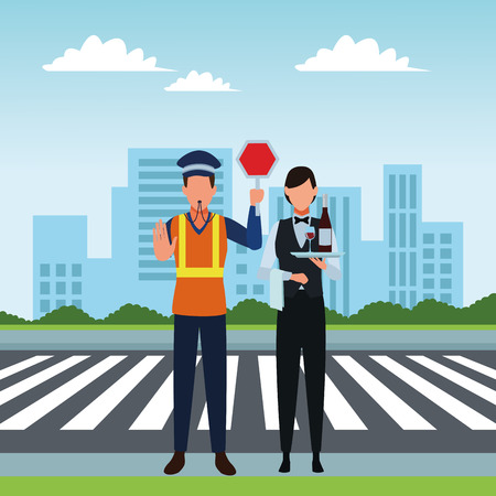 Jobs and professional workers in the city urban scenery vector illustration graphic design