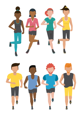 Fitness people running characters set collection vector illustration graphic design Çizim