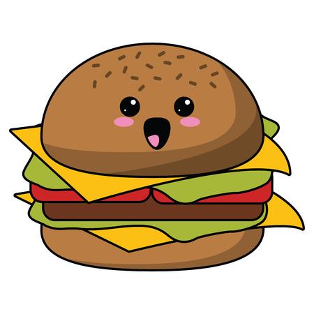hamburger fast food cute kawaii cartoon vector illustration graphic design Ilustração