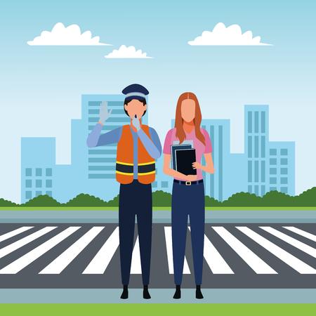 Jobs and professional workers in the city urban scenery vector illustration graphic design Vektoros illusztráció
