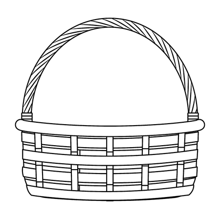 wicker basket icon cartoon isolated black and white vector illustration graphic design