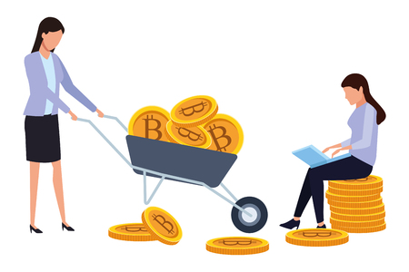 businesswomen holding cryptocurrency bitcoin with wheelbarrow and laptop vector illustration graphic design Stock Illustratie