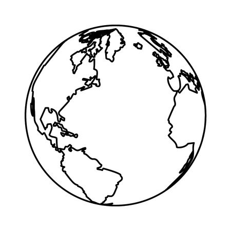 globe icon isolated black and white vector illustration graphic design