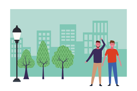 Friends men greeting and smiling at city park scenery frame vector illustration graphic design