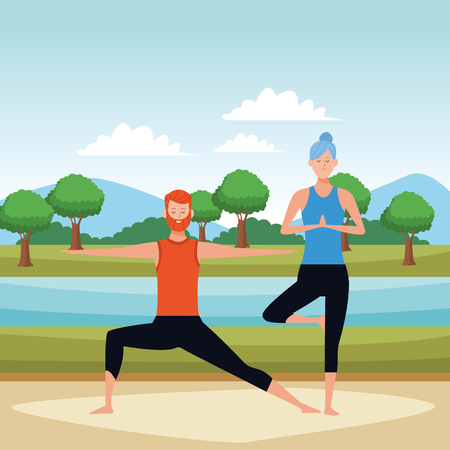 couple yoga poses avatars cartoon character with beard and bun in the park vector illustration graphic design