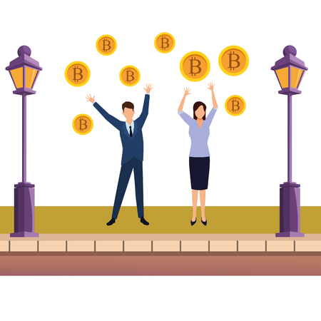 business couple holding cryptocurrency bitcoin sidewalk with lantern vector illustration graphic design