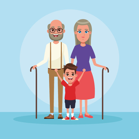 Family grandparents with kids cartoon vector illustration graphic design Stock fotó - 122823534