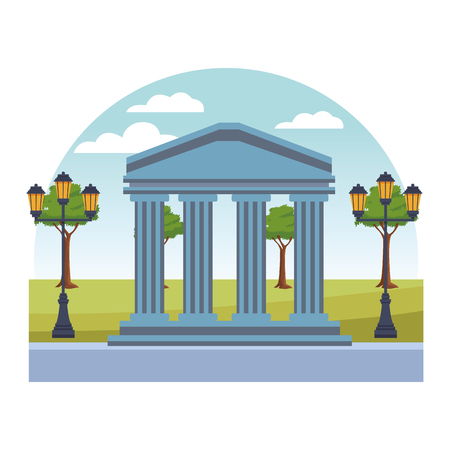 Bank building symbol isolated in the park with streetlights scenery vector illustration graphic design Stock Illustratie