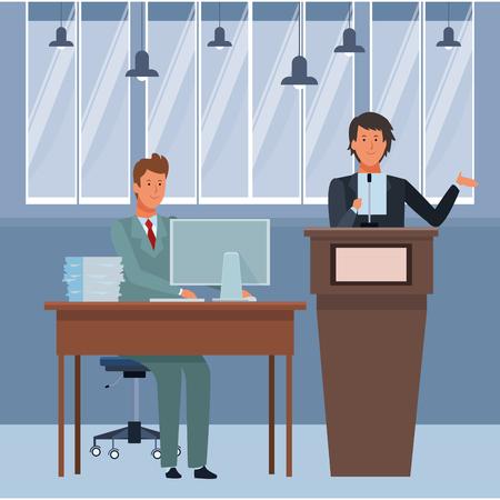 men in a podium and office desk wearing elegant suits indoor vector illustration graphic design Ilustração