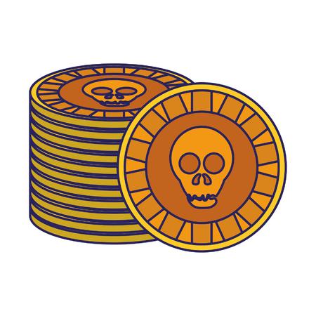 Mexican skull coin symbol vector illustration graphic design