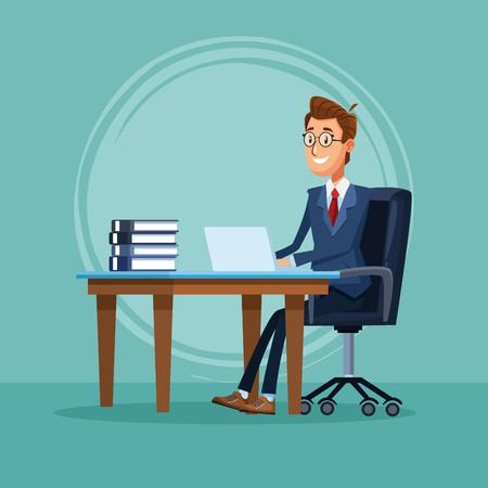 Businessman banker working with laptop at office cartoon vector illustration graphic design Illustration