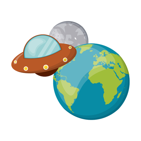 UFO flying aorund earth and moon vector illustration graphic design 일러스트