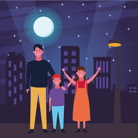 Family father with son and daughter cartoon in the street at night scenery