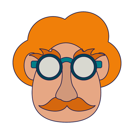 ngry man with glassses mustachen and big nose Designe Illustration