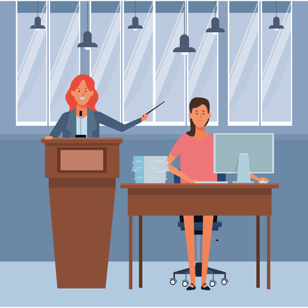 women in a podium and office desk with wand indoor vector illustration graphic design