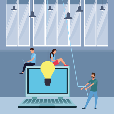 Coworkers seated on laptop with big idea and ropes teamwork cartoon inside workplace office vector illustration graphic design Illustration