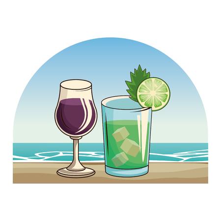 alkoholische Getränke Getränke Cartoon-Vektor-Illustration-Grafik-Design