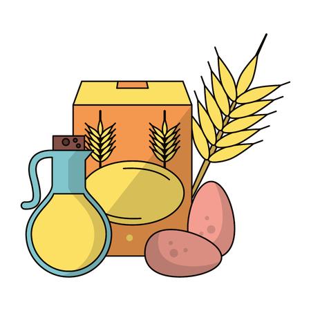 wheat flour oil and eggs icon cartoon vector illustration graphic design Vector Illustratie