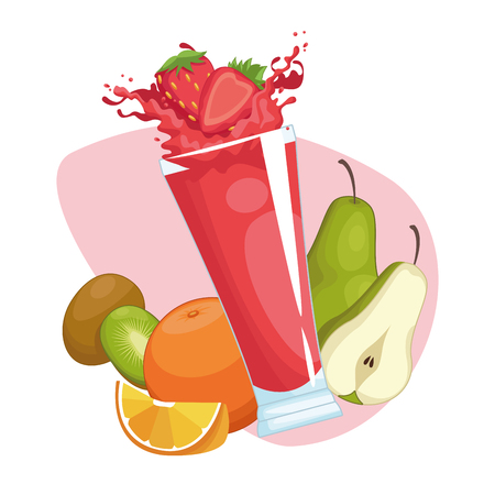 smoothies with fruit icon cartoon vector illustration graphic design Vetores