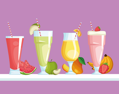 smoothies with fruit icon cartoon vector illustration graphic design vector illustration graphic design  イラスト・ベクター素材