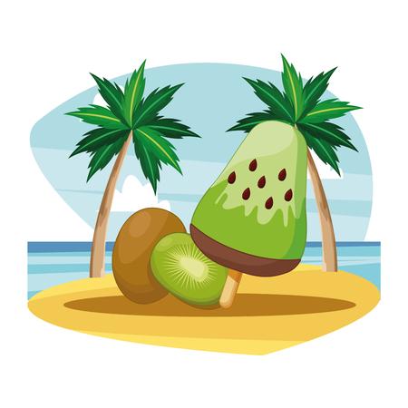 ice lolly with kiwi icon cartoon beach landscape vector illustration graphic design 版權商用圖片 - 122823786
