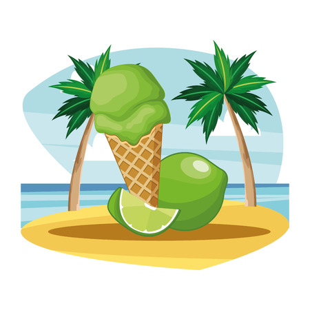 ice cream cone with lemon icon cartoon beach landscape vector illustration graphic design 向量圖像