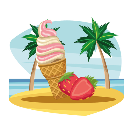 ice cream cone strawberry icon cartoon beach landscape vector illustration graphic design