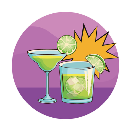alcoholic drinks beverages cocktails cartoon vector illustration graphic design
