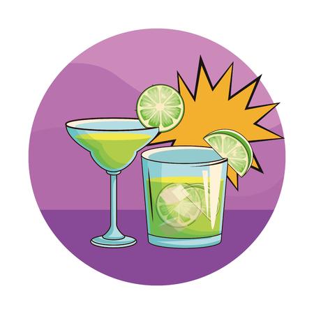 alcoholic drinks beverages cocktails cartoon vector illustration graphic design