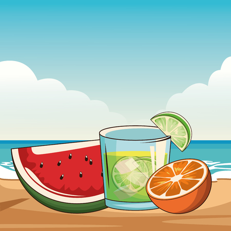 alcoholic drinks beverage cocktail with fruit cartoon vector illustration graphic design