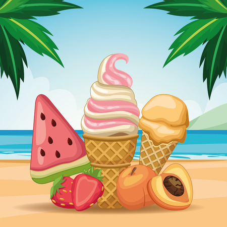 ice lolly and ice cream with fruit icon cartoon vector illustration graphic design