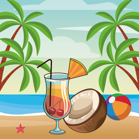 alcoholic drink beverage cocktail with fruits cartoon vector illustration graphic design