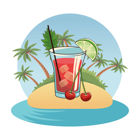 alcoholic drink beverage cocktail with delicious fruit cartoon vector illustration graphic design 版權商用圖片 - 122823846