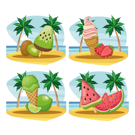 set of ice cream and ice lolly with fruit in beach landscape vector illustration graphic design 版權商用圖片 - 122823848