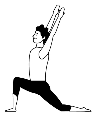 man yoga pose avatar cartoon character black and white isolated vector illustration graphic design