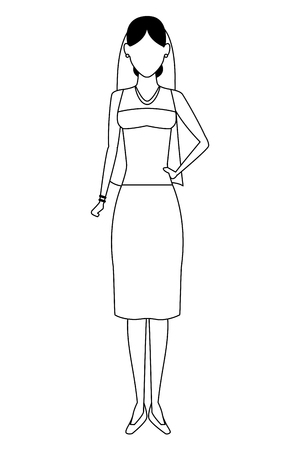 woman wearing wedding dress avatar cartoon character black and white vector illustration graphic design